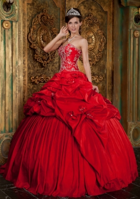 Red Ball Taffeta Beading Appliques Quinceanera Gown Dress