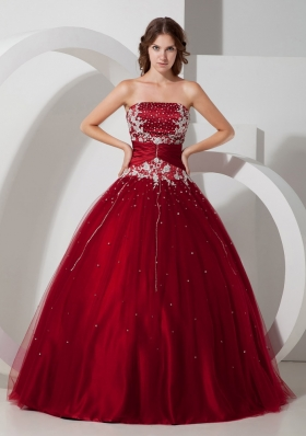 Wine Red Strapless Tulle Appliques 15 Quinceanera Dress