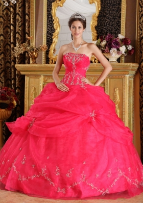 Pick Ups Coral Red Strapless Organza Appliques Quinceanera Dress