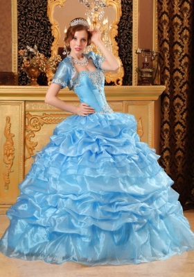 Aqua Blue Sweet 15 Quinceanera Dress Organza Ruffled