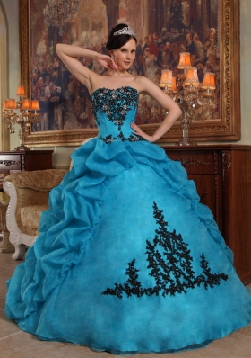 Teal Pick-ups Quinceanera Dress Organza Beading Strapless