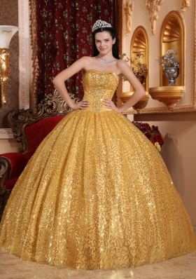 Gold Ball Gown Quinceanera Dress Sequins Over