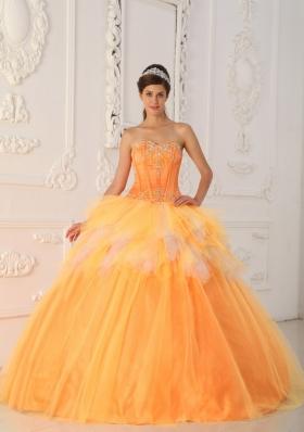 Orange A-Line Sweetheart Beading Quinceanera Dress