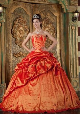 Dresses for Sweet 15 Orange Red Ball Gown Pick-ups
