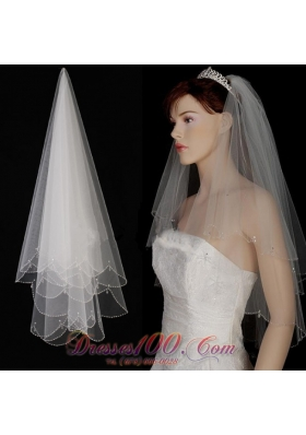 Fingertip Veil Two-Layer Tulle With Pearls