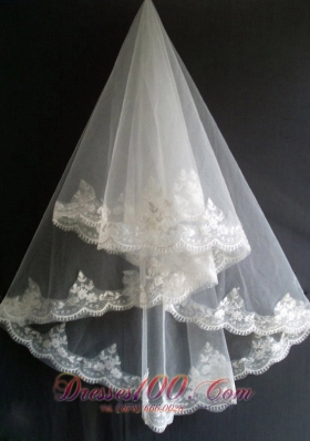 Lace Wedding Veils for Popular Appliques Tulle