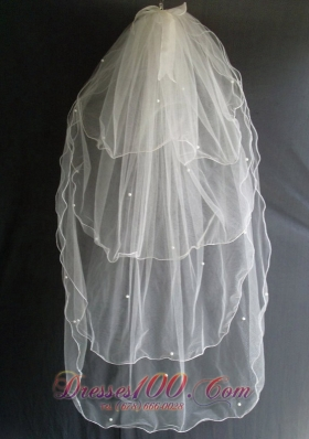 Beading Fashionable Wedding Veils Tulle Layers