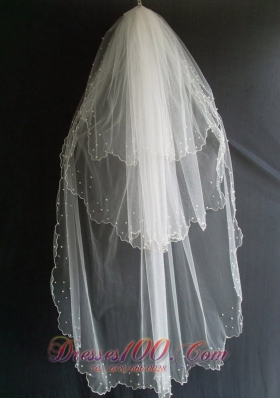Beading Tulle Layers Wedding Popular Veils