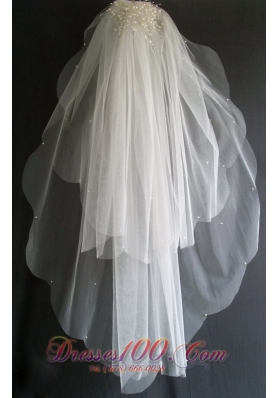 Luxury Pearl Decorate Tulle Elbow Wedding Veils