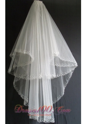 Two Layers Wedding Veils With Embroidery Beading