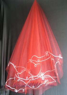2013 New Arrival Red Wedding Veils Appliques