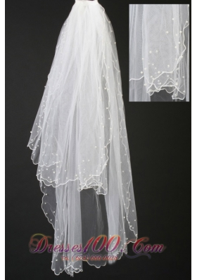 Beautiful Organza Popular Veils Pearl Trim Edge