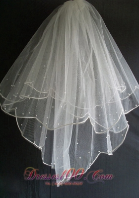 Tulle Wedding Veils With Little Pearl