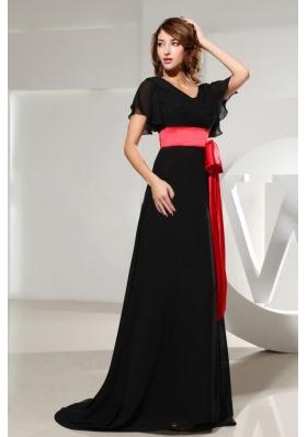 Black Prom Dress Black Sash Short Sleeves and Brush