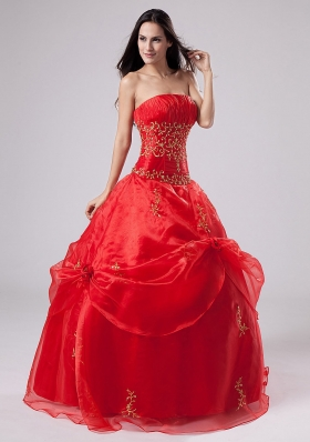 Red Quinceanera Dress With Embroidery and Pick-ups Organza