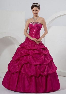 Fuchsia Beaded and Pick-ups Ball Gown On Sale