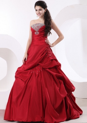 Wine Red Strapless A-line and Beading Quinceanera Dress