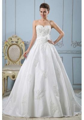 Sweetheart Custom Made Wedding Dress Appliques and Sash