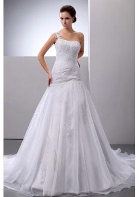 Appliques One Shoulder Court Train Organza Bridal Dress