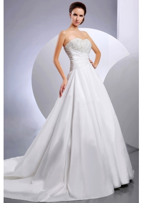 New Arrival Appliques Wedding Dress Ruching Chapel