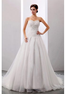 Customized Wedding Dress Appliques A-line Chapel Train
