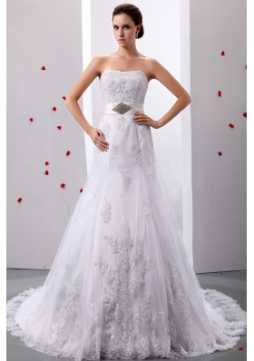 A-Line Strapless Tulle Appliques Beading Wedding Gowns