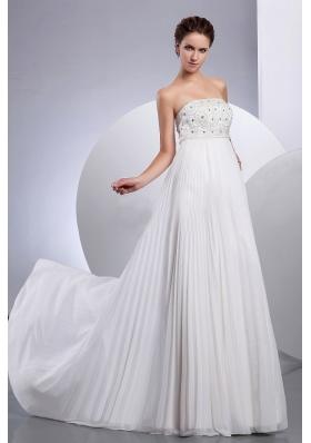 Pleated Beaded Empire Wedding Dresses Chiffon Strapless