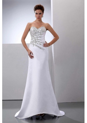 Beading Sweep Train Satin Column Wedding Dress