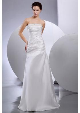 Taffeta Column Strapless Beaded Floor-length Wedding Dresses