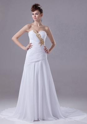 Ruched Appliques Chiffon Court Train White Wedding Dress