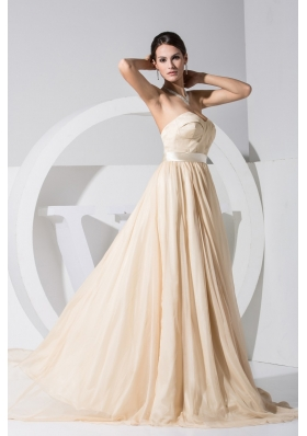 Sweetheart Brush Train Cool Back Prom Dresses with Satin Sash