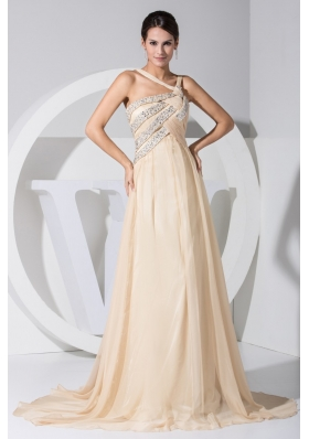 Beaings Decorated Sweep Train Prom Gown Dress with Asymmetrical Neckline