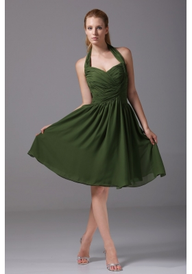 Brand New A-line Halter Top Ruched Dark Green Prom Dress