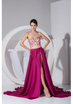 High Slit Court Train Sweetheart Prom Dresses with Beaed Bodice