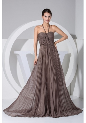Princess Pleated Halter Top Prom Dresses in Brown with Sweep Train