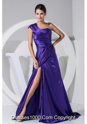Purplr Single Shoulder Brush Train Prom Dress with Slit on The Side