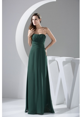 Ruching Decorated Strapless Full Length Column Chiffon Prom Dresse