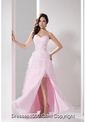 Sweetheart Prom Dress with Beadings Slit Ruffled Layers and Bowknot