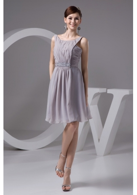 2013 Grey Scoop Chiffon Prom Dresses with Ruching and Beading