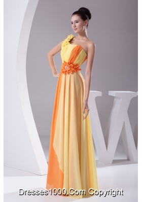 Beaded Ruched One Shoulder Yellow and Orange Prom Dress for Ladies