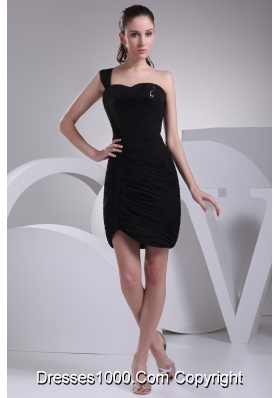 Black One Shoulder Sweetheart Short Prom Dress with Ruche and Paillette