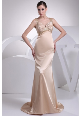 Diamonds Decorated Wide Straps Sheath Brush Train Prom Gowns