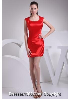 Elegant Mini-length Sheath Prom Dress in Red with Scoop Neckline