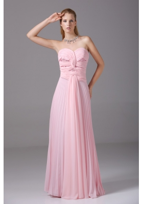 Pretty Sweetheart Pleated Ruched Pink Prom Homecoming Dress