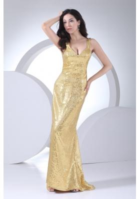 Unique Sequin Straps Gold Brush Train Prom Celebrity Dress
