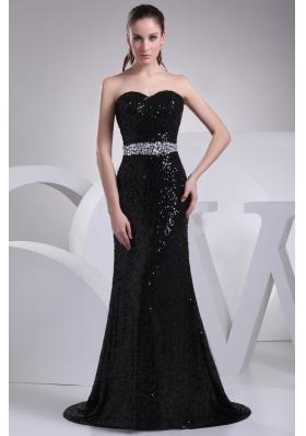 Black Sequin Sweetheart Brush Train Prom Dresses wirh Beaded Sash
