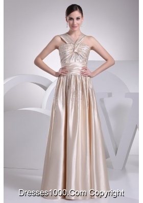 Floor-length V-neck Prom Gowns with Ruching and Beading