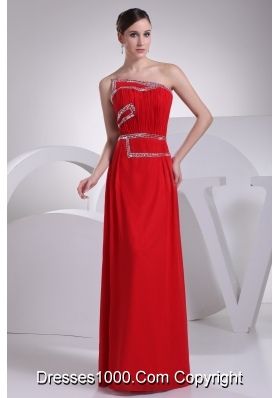 Ruching and Beading Red Prom Gowns with Asymmetrical Neckline