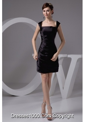 Square Ruched Mini-length Black Taffeta Prom Gown Dress 2013
