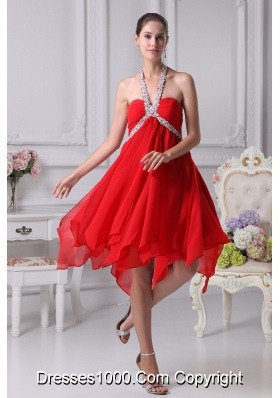 Appliques with Beading Decorated Halter Prom Dresses with Ruffled Edge